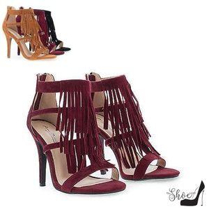 The Shoe Loft Shoes - Gigi Faux Suede Burgundy Fringe Strappy Heels
